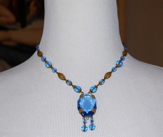 SALE-1920s Czech Deco Flapper Blue Glass & Brass Dangle Necklace