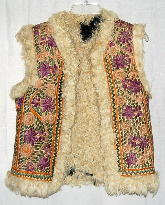 Rare Heavily Embroidered Fur Lined 60s Hippie Vest from Paris