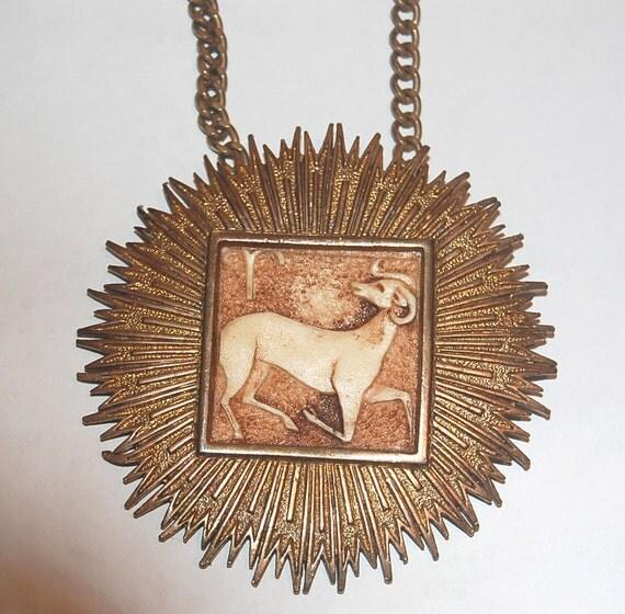 Swinging 1970s Zodiac Aries Medallion Necklace