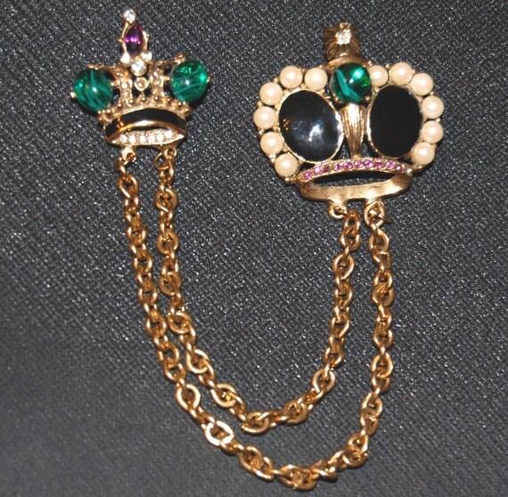 Vintage Rhinestone Crown Chatelaine Pin or Sweater Pin