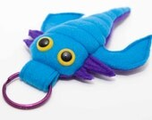Baby Extinct Eurypterid Plush Keychain in Bright Blue and Purple