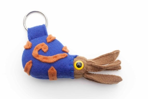 Extinct Ammonite Fossil Plush Keychain in Blue, Tan and Burnt Orange