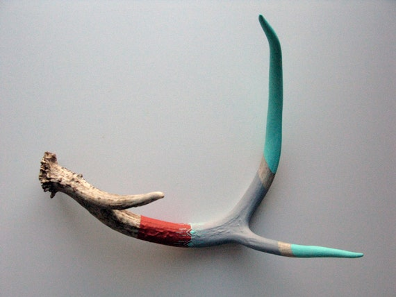 Aqua, Gray and Red Antler