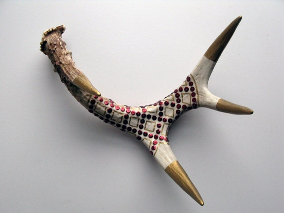 Gold Painted & Ruby Sequined Antler - Small