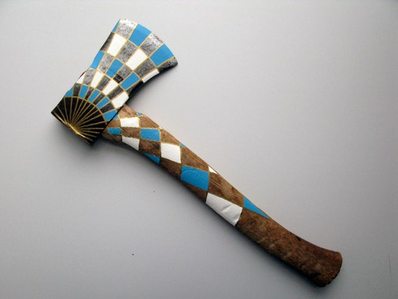 Gold, White & Blue Geometric Sunburst Painted Hatchet