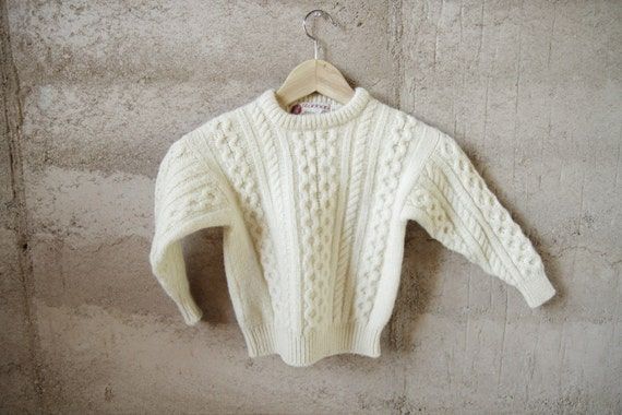 50s 60s toddler IRELAND wool cream CABLE KNIT kids childrens sweater