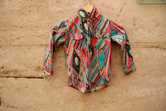 SOUTHWEST 90s IKAT abstract bright kids boy CHILDRENS button up down shirt