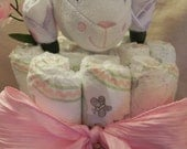 Lamb Security Blanket Diaper Cake with Sock Roses Baby Shower Gift
