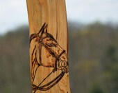 Solid Cedar Wood Kentucky Race Horse Blue Grass Walking Stick Cane