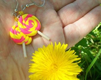Polymer Clay Pink Lemonade Swirl Lollipop earrings