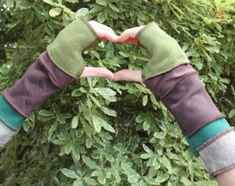Greens and Browns Fingerless Gloves