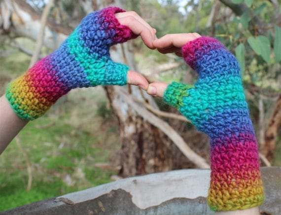 Rainbow Crochet Gloves