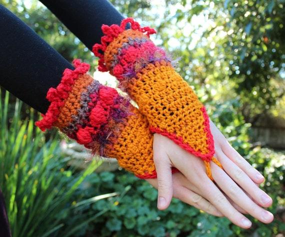 Fiery Crochet Arm Warmers