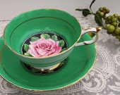 Paragon China Tea Cup and Saucer, Kelly Green with Pink Rose, A1402