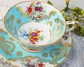 Paragon Tea Cup and Saucer, Seafoam Blue Green Teacup