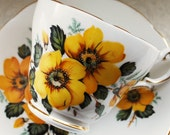 Grosvenor Tea Cup and Saucer, Large Yellow Flowers