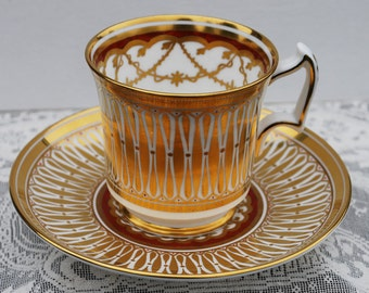 "Royal Chelsea ""Cathedral"" Tea Cup and Saucer, circa 1950s"