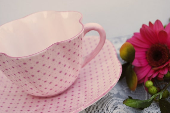 Shelley China Tea Cup and Saucer, Dainty Pink Stars and Polka Dots, 12969