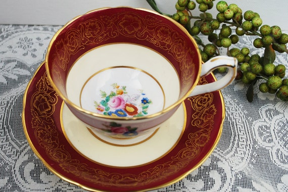 Hammersley Tea Cup and Saucer, Cranberry Red and White