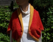 knit shrug, with matchine hat, 2 colors to look like it's lined, and crochet edges