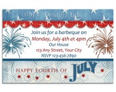 Red White and Blue Invitations, 4th of July Birthday Invitations, 4th of July Party Invitations, Patriotic Invitation, Stars and Stripes