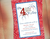 4th of July Fireworks Party Invitation, Patriotic Birthday Invite, Red White and Blue Birthday Invite, BBQ Party Invite-You Print