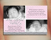 Baby Birth Announcement Card, Baby Announcement-Digital File You Print