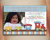 All Aboard Train Birthday Invitation, Choo Choo Train Birthday Invite, All Aboard Personalized Birthday Invite-Digital File You Print