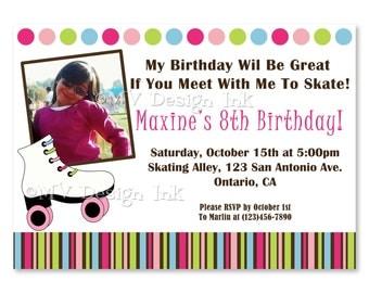 Roller Skating Invitation, Skating Party Invitations, Roller Skating Birthday Invitations, Roller Skating Party Invitations, Roller Skates
