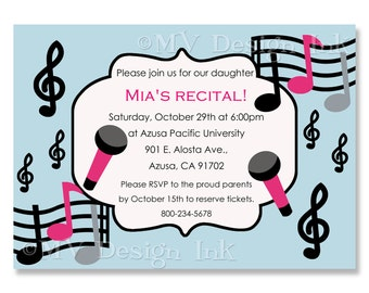 Music Recital Invitation, Musical Birthday Party Invite, Recital Invite, Personalized Musical Birthday Invite-Digital File You Print