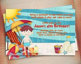 Beach Birthday Invitation, Beach Party Birthday Invite, Pool Party Birthday Invitation, Boy or Girl Beach Birthday Invitation-Digital File