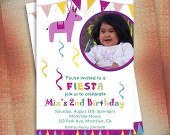 Mexican Fiesta Piñata Birthday Invitation, Fiesta Birthday Invite, Piñata Birthday Invitation, Mexican Party Invite-DIY