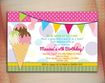 Ice Cream Birthday Party Invitation, Ice Cream Cone Birthday Invite, Ice Cream Scoop Birthday Invite, Ice Cream Scoop-DIY