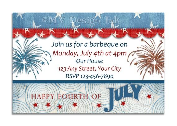 Vintage 4th of July Stars and Fireworks Party Invitation, Patriotic Vintage Birthday Invite, Fireworks Birthday Invite-You Print