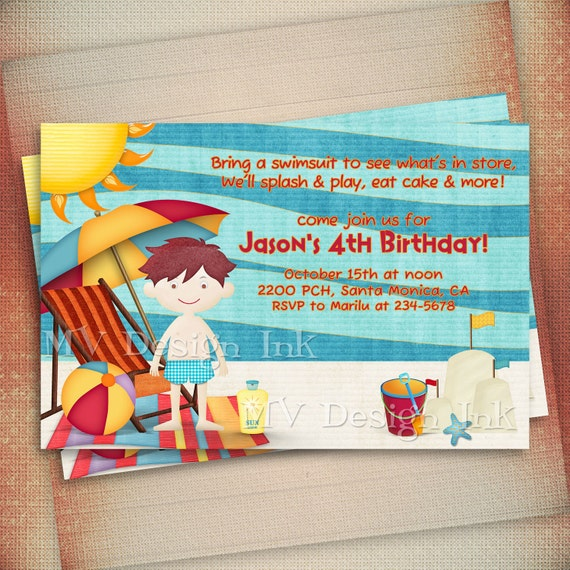 Beach Birthday Invitation, Beach Party Birthday Invite, Pool Party Birthday Invitation, Boy or Girl Beach Birthday Invitation-Digital File