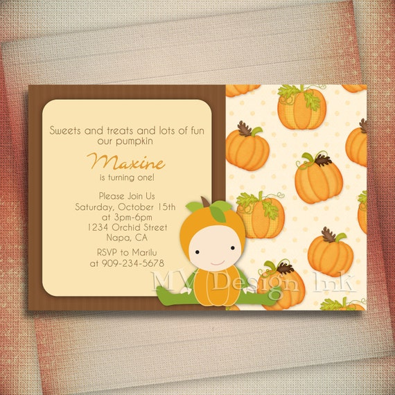 Our Little Pumpkin is Turning One Invitation, Pumpkin Birthday Invitation, 1st Birthday Pumpkin Invitations, First Birthday Fall Invitations