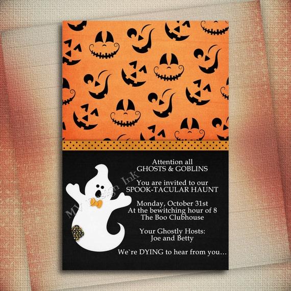 Spooky Halloween Birthday Party Invitation, Jack O' Lantern Halloween Birthday Party Invite, Halloween Birthday Party Invite-DIY