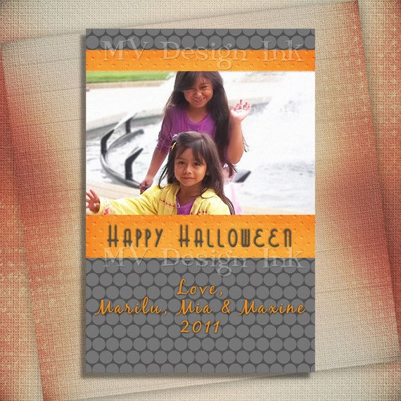 Simple Bold Halloween Photo Card, Simple Bold Halloween Card, Halloween Birthday Invite, Halloween Party Invite-Digital File You Print