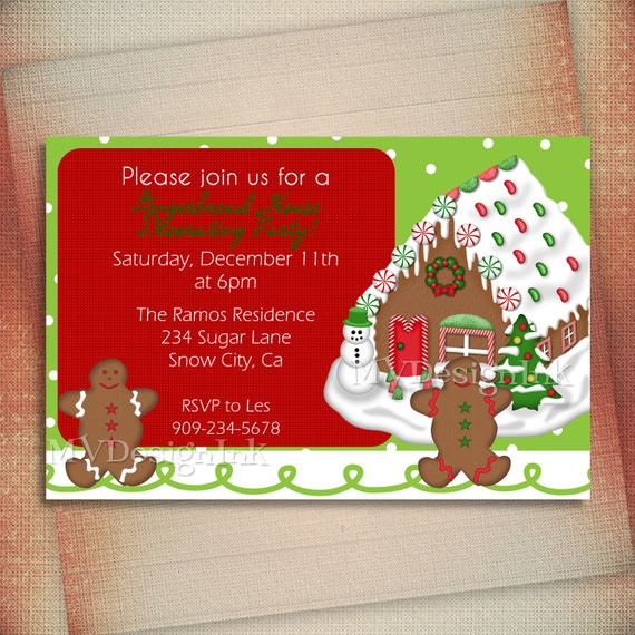 Items similar to christmas card gingerbread house Gingerbread house decorating party invitations