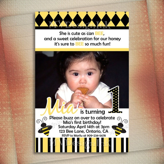 Busy Bumble Bee Birthday Invitation, Buzz Bumble Bee Printable, Bumble Bee Shower Invite - Digital File You Print