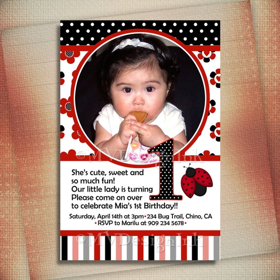Red LadyBug Birthday Invitation, Ladybug Birthday Invite, Red Ladybug Photo Birthday Invite, Little Ladybug Invite-DIY
