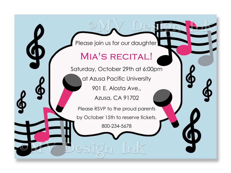 Music Recital Invitation Musical Birthday Party Invite