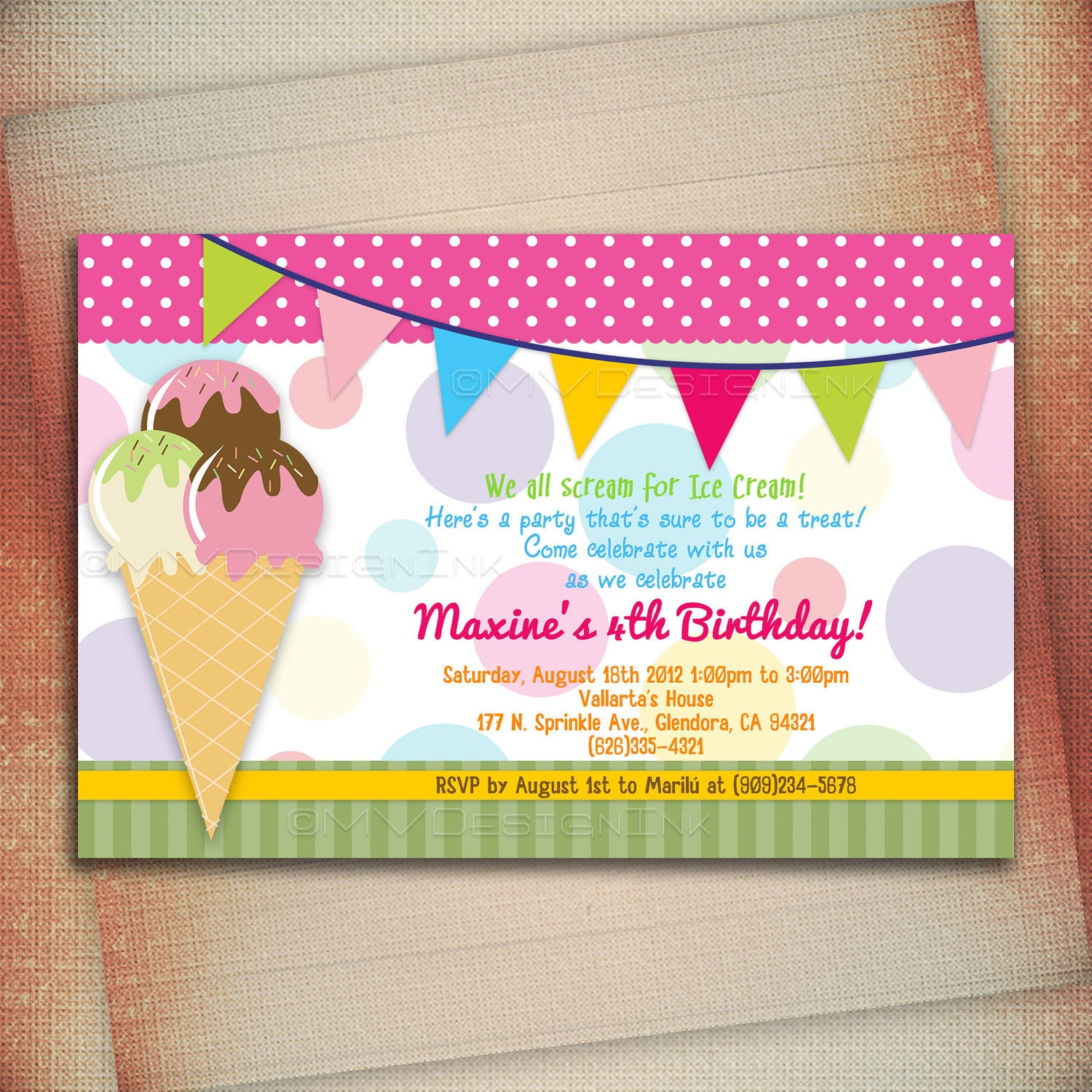 Ice Cream Birthday Party Invitation Ice Cream Cone Birthday