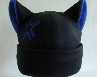 Black and blue angry anime cosplay kitty cat hat beanie