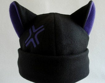 Black and purple angry anime cosplay kitty cat hat beanie
