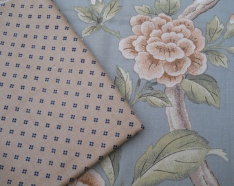 2 Fabrics Vintage Floral on Blue Background And Tan and Navy Blue polka dot Pattern Fabrics Yardage Sewing Projects Crafts Vintage Fabric