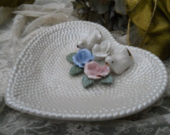 Vintage Shabby Chic Heart Dish with Roses and  Doves Home Decor Serving Bowl Supplies
