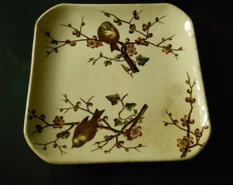 Rare ca 1880 G J Earthenware Almond Pattern Backstamped Square Dinner Plate Collectibles Antiques