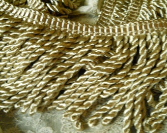 Vintage Heavy Champagne Bullion Fringe Trim 5 and One Half inches Wide for Decorating Pillows Shades Tassels Tiebacks- 1 Yard