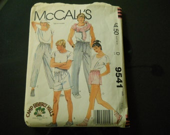 McCall's Camp Beverly Hills Pattern Cuffed Pants Buttoned Front Fly Opening Pockets in seams Drawstring in Waistline